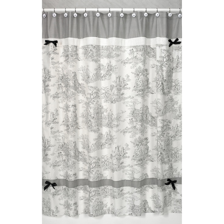 Black French Toile Shower Curtain | Overstock.com