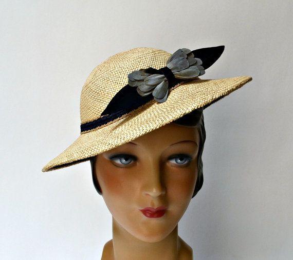 womens 1930s panama straw hat with vintage trim