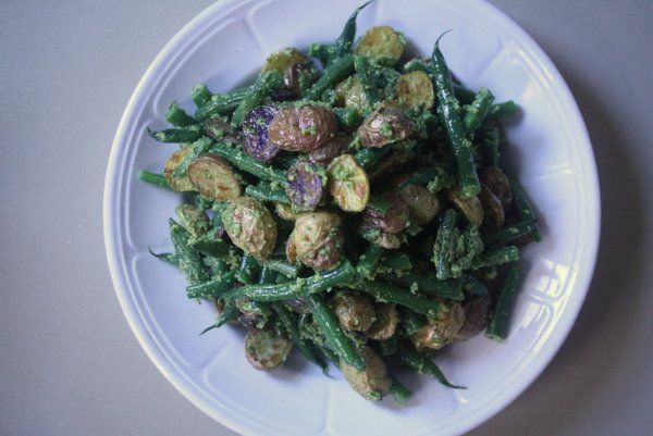 ... Friends: Roasted Potato and Green Bean Salad with Almond-Chive Pesto