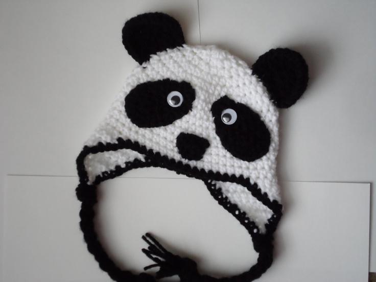 Panda Bear Earflap Hat Crochet Pattern : Crochet Panda Bear Hat, Baby Panda Hat, Newborn Panda bear ...