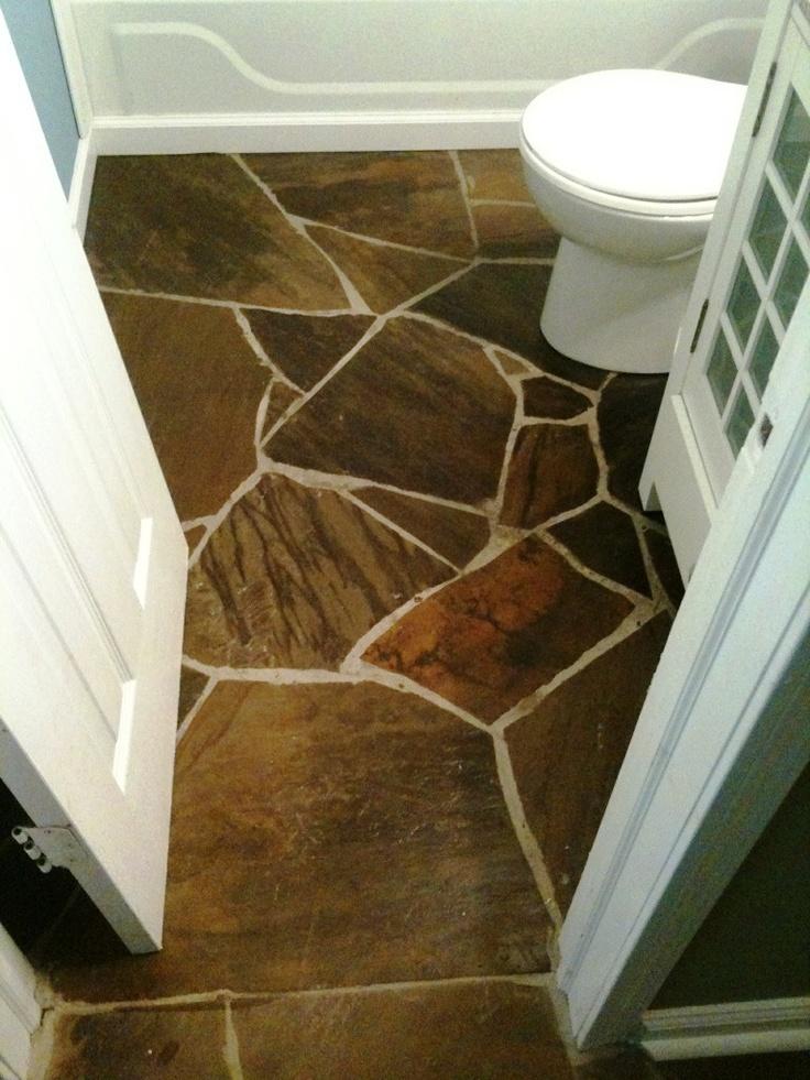 Flagstone on a bathroom floor. | House envy