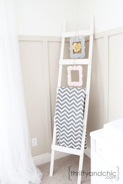 DIY Ladder blanket holder