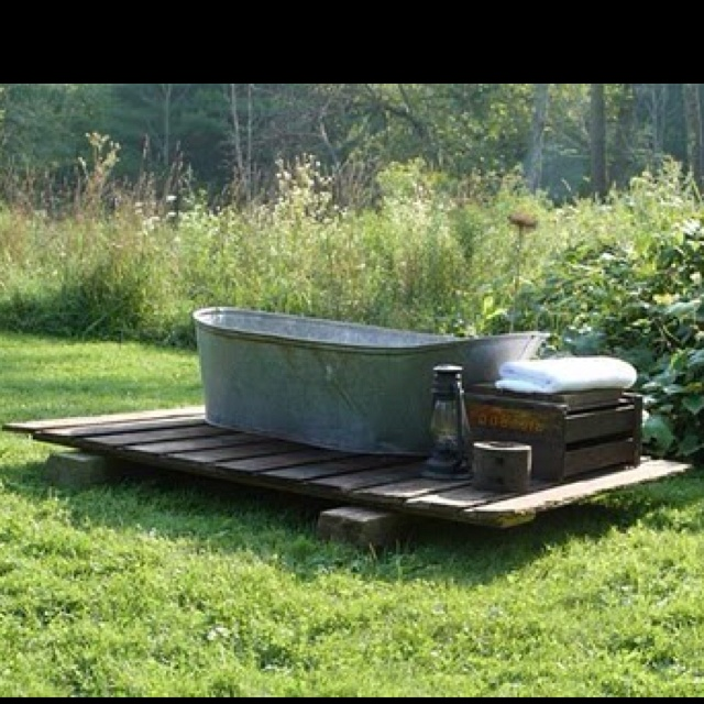 Wood heated outdoor tub | outdoor spaces | Pinterest