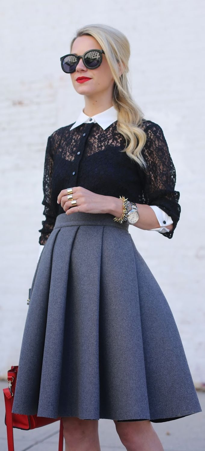 Grey Pleated Skirt + Black Lace with Details.