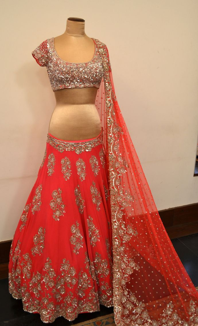 Manish malhotra coral lehenga at ensemble