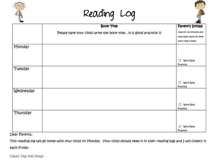 Reading Log.pdf | Teaching- At Home | Pinterest