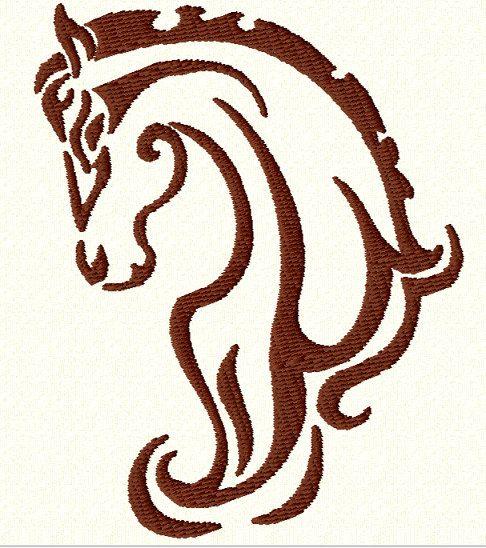 TRIBAL HORSE HEAD  Machine Embroidery Design  2 Sizes