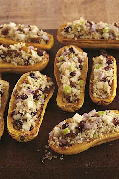 Quinoa filled squash boats with cranberries and pears. Thanks Leah ...