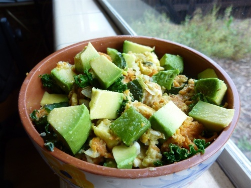 Sweet potato, kale, and egg hash with salted avocado.....with bacon ...