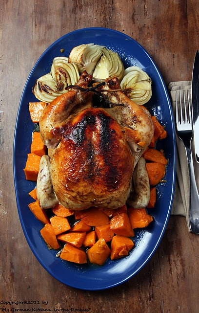 Roasted Maple Chicken with Sweet Potatoes and Fennel