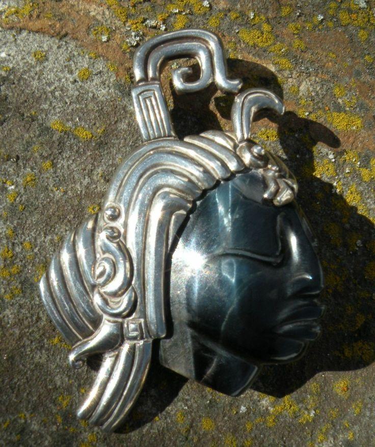 TAXCO Sterling Silver Aztec Warrior Piedra Plata Felipe Martinez Pend ...
