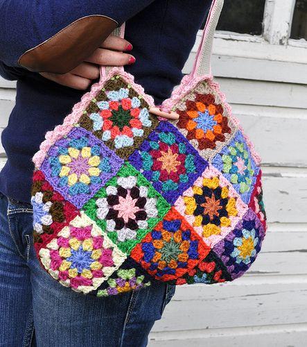 Granny Crochet Bag : Granny squares bag! crochet Pinterest