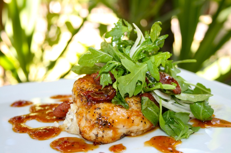 Spicy Apricot Glazed Chicken w/ Arugula Fennel on Goat Cheese Mashed ...