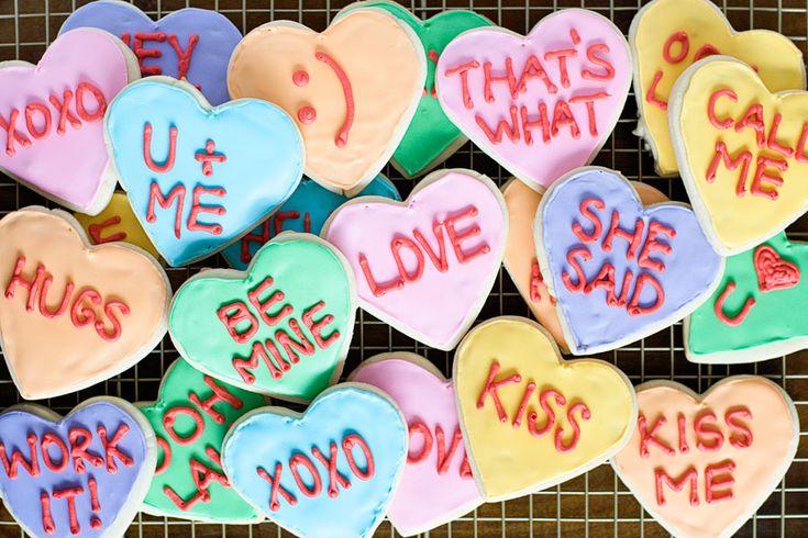 Conversation Heart Cookies | Happy Love Day! | Pinterest