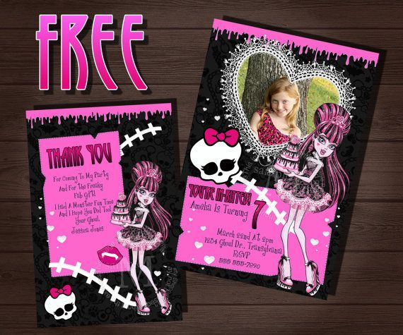 Monster High Free Invitation Template is adorable invitation ideas