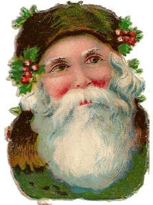 Father Christmas w/Green Hood Die Cut. Barb Crews. Antique Christmas die ...    collectibles.about.com