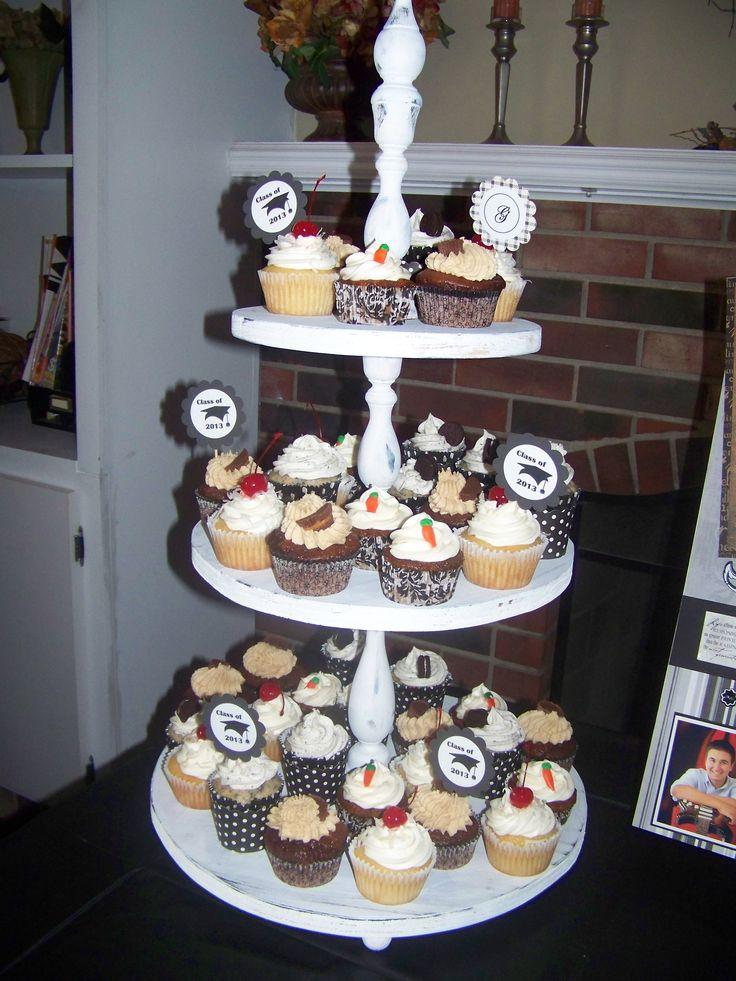 Cupcake stands   Graduation party ideas   Pinterest