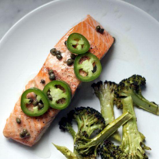 Easy roast salmon & broccoli with chili-caper vinaigrette - one pan ...