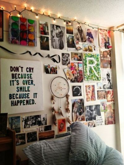 Pictures, pictures everywhere! Use 3M strips or poster putty to attach your wall