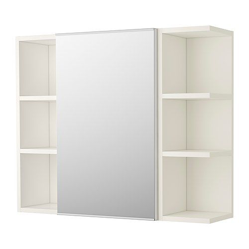 lill ngen mirror cabinet 1 door 2 end units white