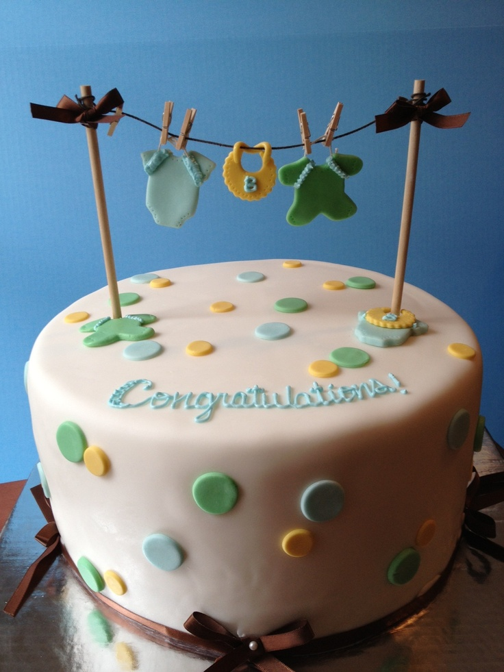 Clothesline Baby Shower Cake
