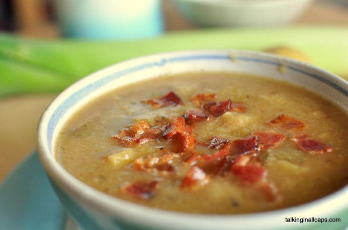 leek and potato soup with bacon