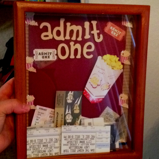 Made Andrew an Admit One box for all of our ticket stubs! :-)
