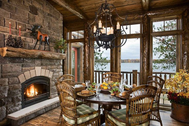 Beautiful rustic dining area modern log cabins for Rustic dining area