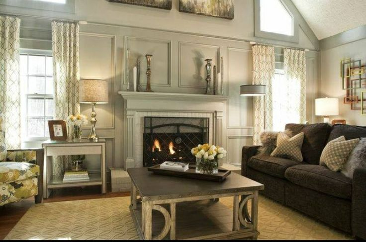 Painted Wood Paneling In Gray Home Living Family Room