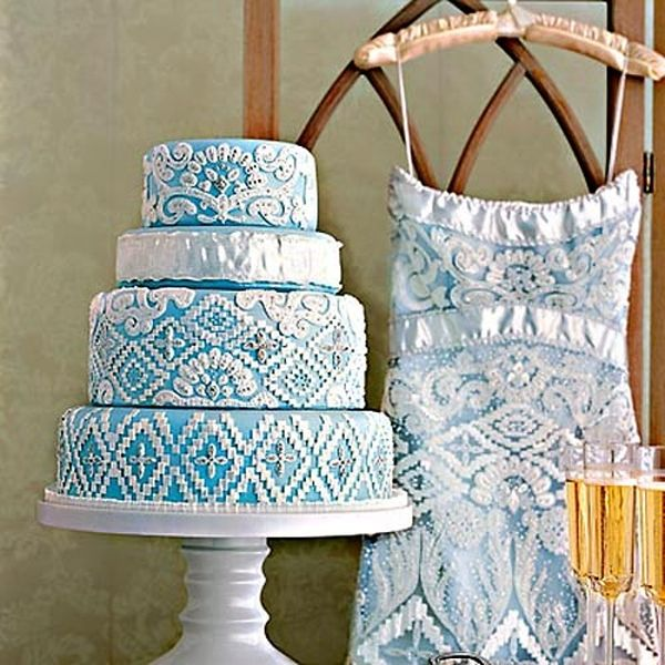 White and Blue Wedding Dress inspired cake