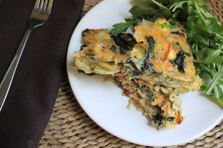spinach, artichoke and sun-dried tomato egg bake. | Frugal Foodie Family