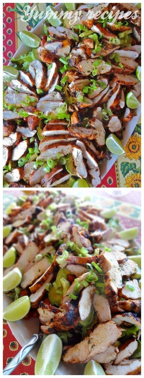 Southwestern Grilled Chicken Salad with Tomato & Black Bean Salsa