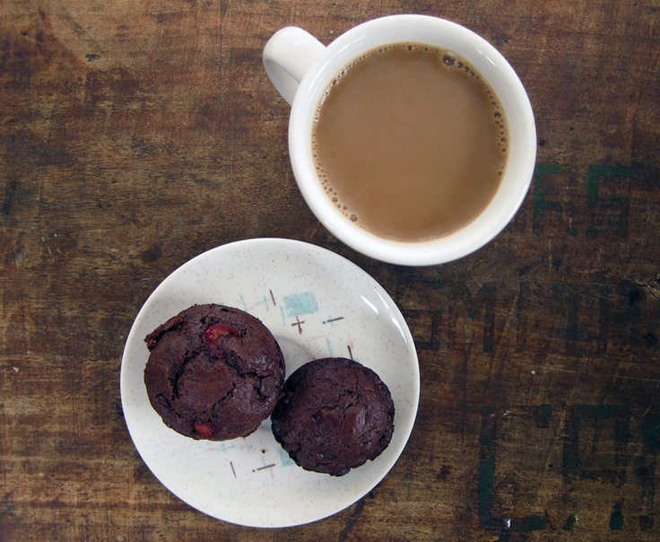 double chocolate cherry muffins | everybody likes sandwiches