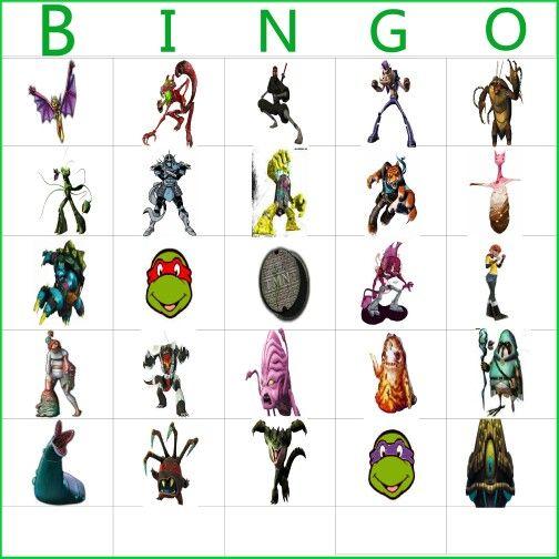 Tmnt bingo boards i made:) | bug bday | Pinterest