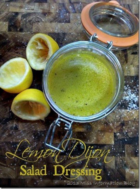 Lemon Dijon Salad Dressing 2 T olive oil 1.5 tsp lemon juice 1 T dijon ...