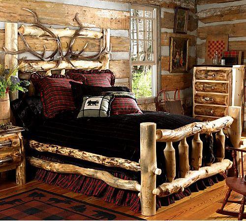 elk antler aspen log beding rustic home decor pinterest