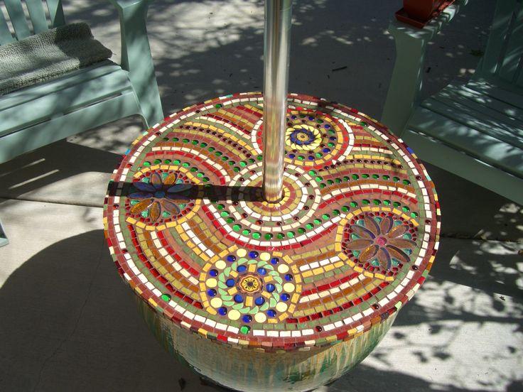 mosaic umbrella table | mosaics | Pinterest