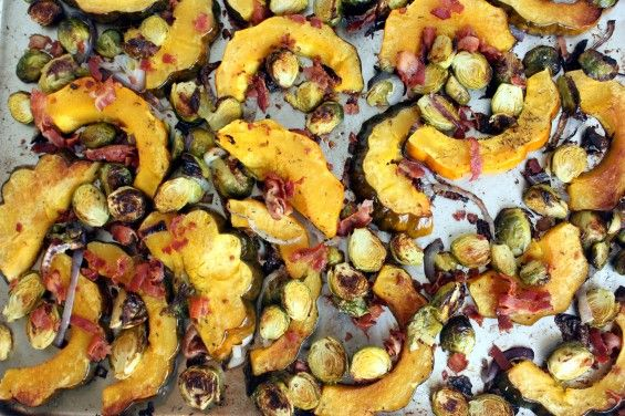 roasted acorn squash amp brussels sprouts with red onion amp bacon