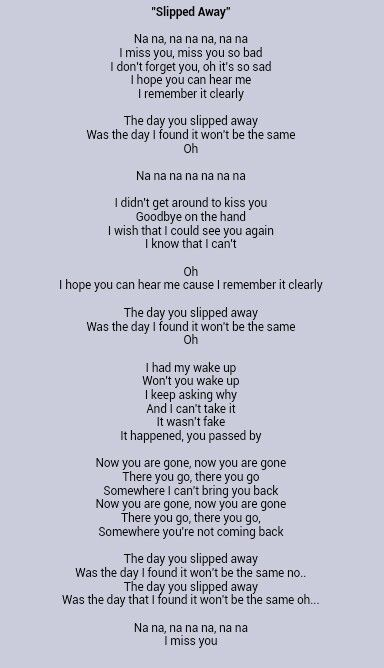 Slipped Away by Avril Lavigne - Songfacts