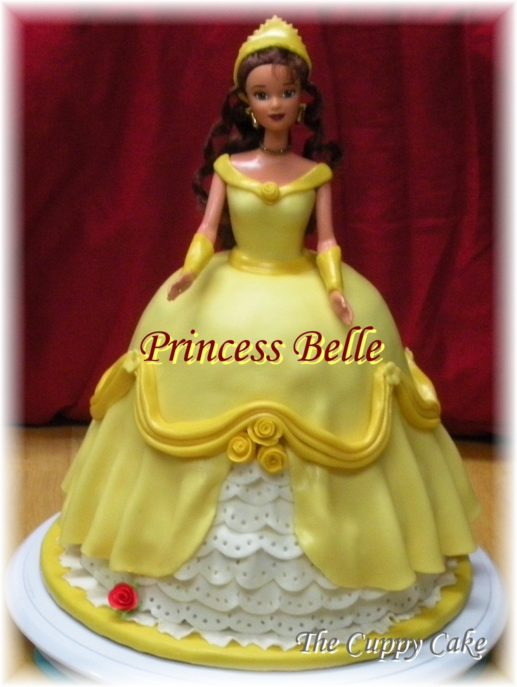 My Princess Belle Cake! Princess Belle made with an actual Belle doll ...