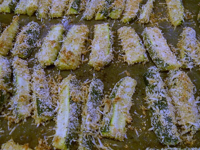 and warm and soft on the inside. Zucchini Fries: 3 zucchini 1 egg ...