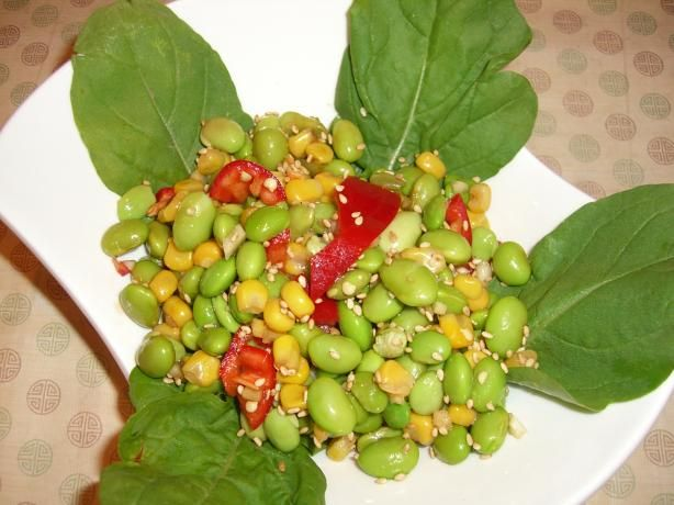 edamame and corn i used only edamame corn vinegar soy sauce and sesame ...