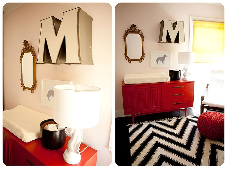 Vintage-modern black, white, and red girls nursery. Love the black and white chevron rug. Love the red credenza turned changing table. Love the yellow window shade and pink walls. I never would have thought to put some of these things together, but it looks incredible. Very well edited and great scale.