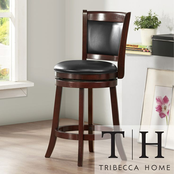tribecca home verona cherry swivel 24 inch counter height stool