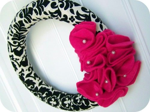 Fabric & Ruffled Felt Wreath