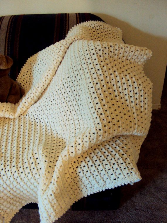 Crochet Lap Blanket : Snuggly Blanket Crochet Throw Afghan Lap Blanket Beige Baby Blanket ...