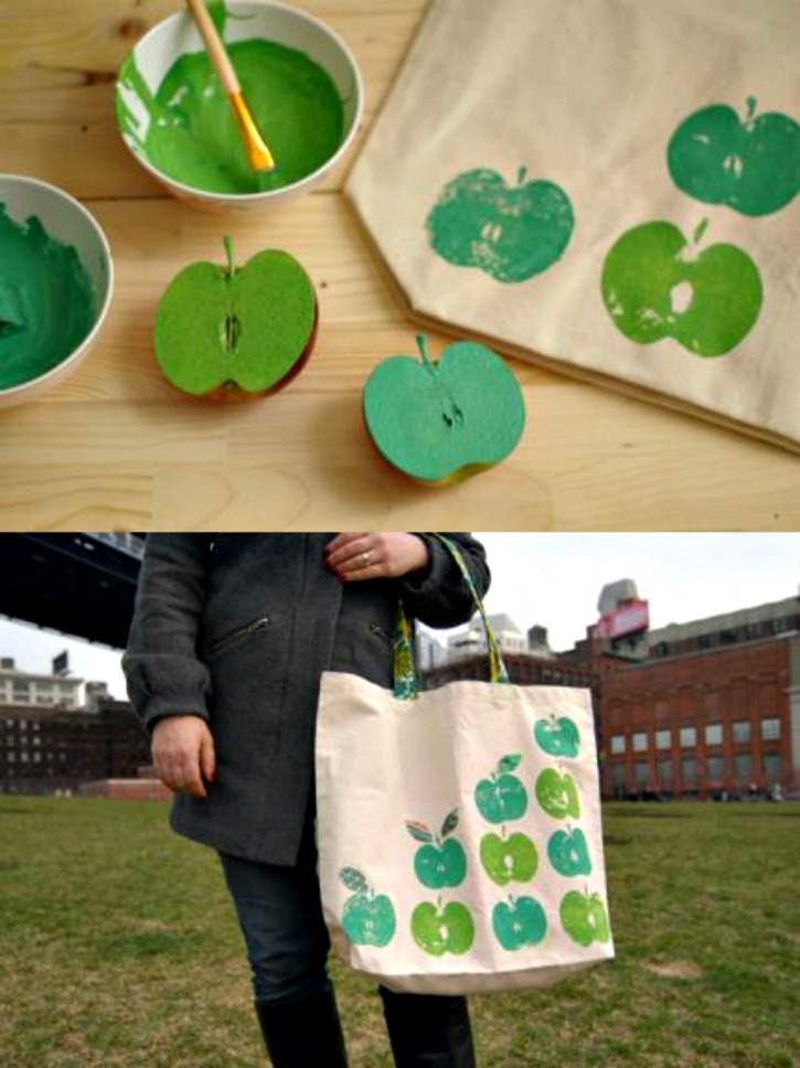 Stamped Apple tote