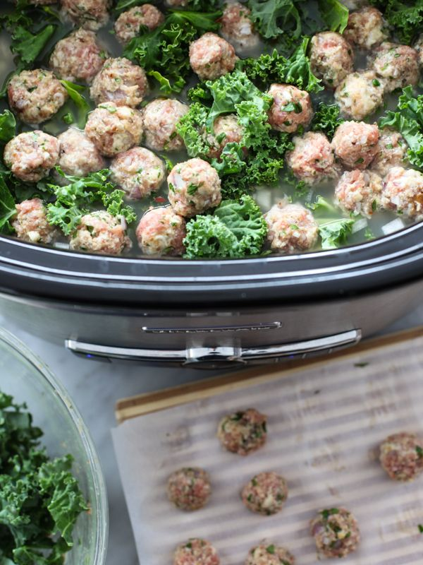 Skinny Slow Cooker Kale and Turkey Meatball Soup is a healthy version ...