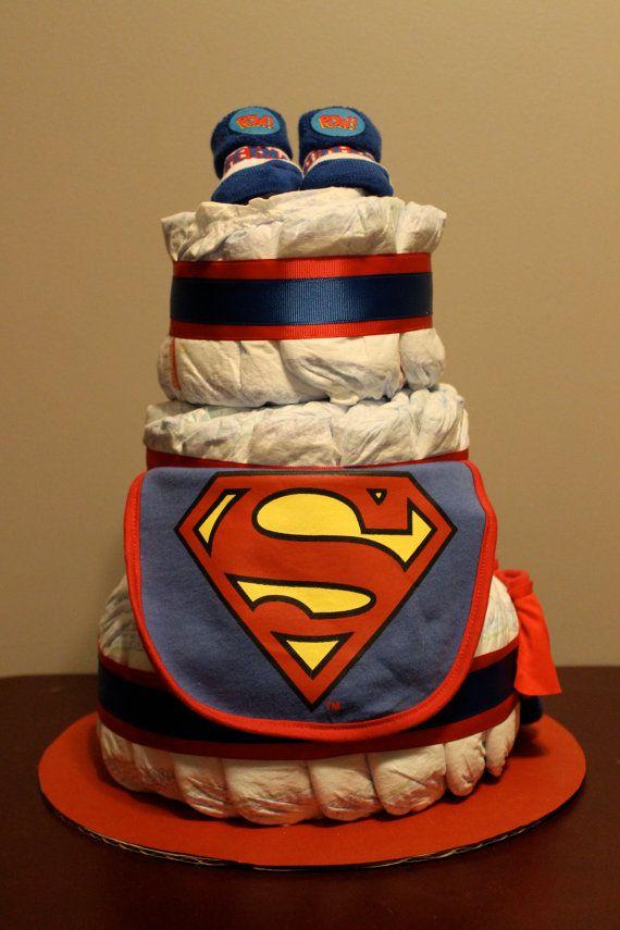superman inspired diaper cake by petesmommakesstuff on etsy