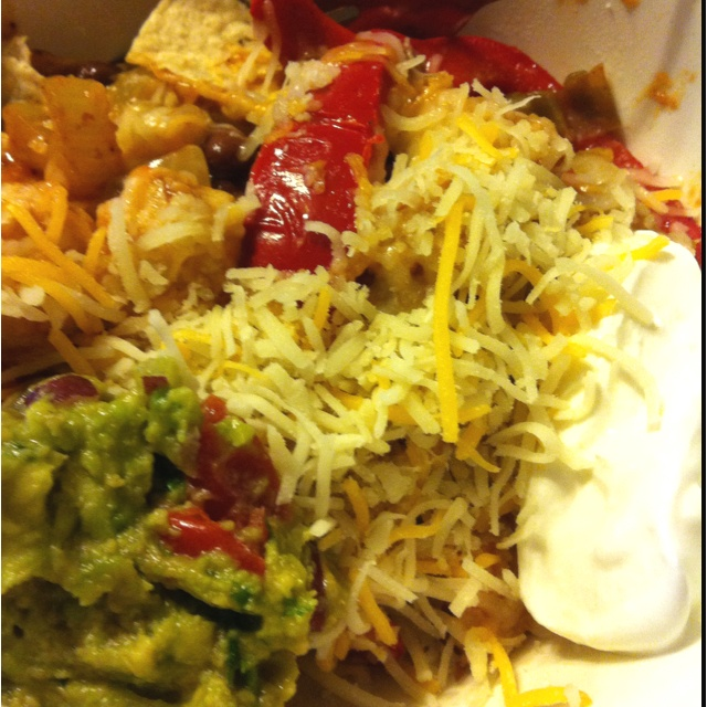 ... amp heat through serve over tortilla chips with sour cream guac amp